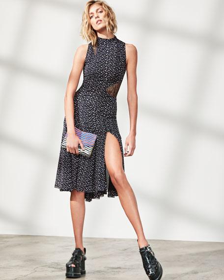 Sleeveless Mock-Neck Leopard-Print Dress, Multi Pattern