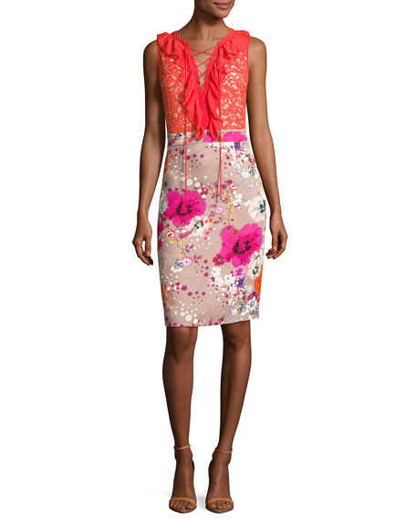 Garden of Eden Lace-Up Dress, Pink/Red