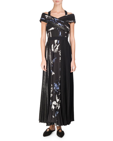 Proenza Schouler Long Pleated Floral-Print Dress, Multi Pattern