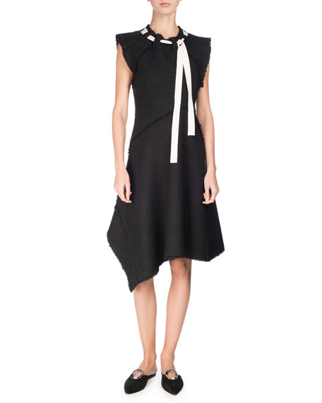Asymmetric Fringed Tie-Neck Dress, Black