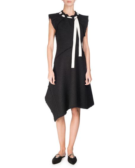Proenza Schouler Asymmetric Fringed Tie-Neck Dress, Black