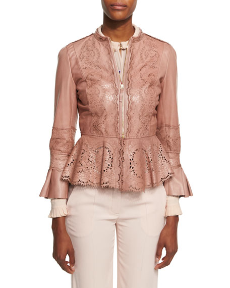 Lace-Cutout Leather Peplum Jacket, Espresso