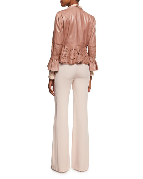 Lace-Cutout Leather Peplum Jacket, Espresso
