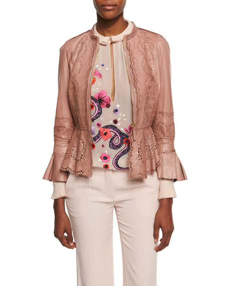 Roberto Cavalli Lace-Cutout Leather Peplum Jacket, Espresso