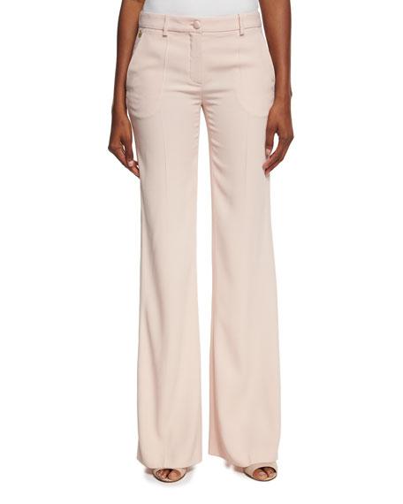 Roberto Cavalli Satin-Stripe Wide-Leg Pants, Blush