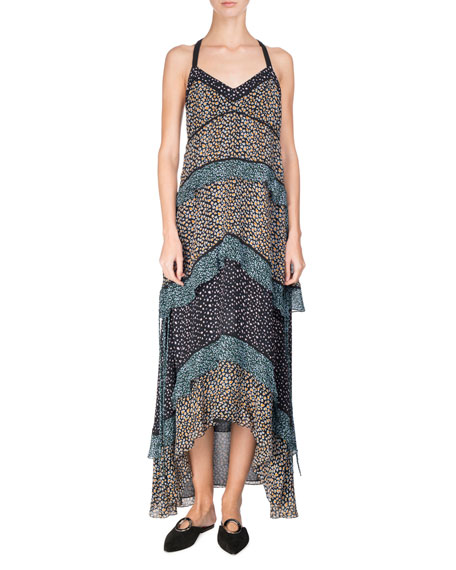Tiered Leopard-Print Silk Maxi Dress, Multi Pattern