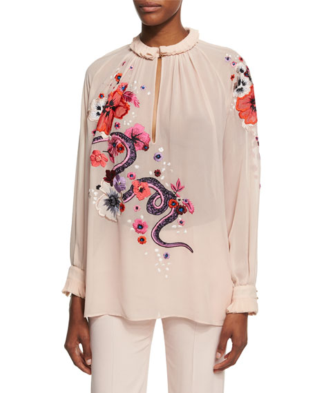 Roberto Cavalli Embroidered Snake & Floral Chiffon Blouse,