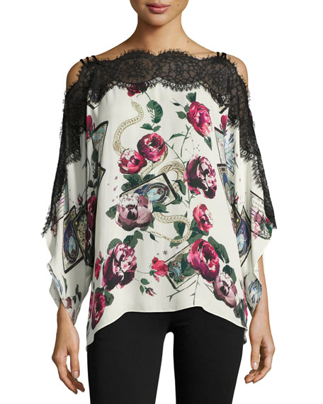 Mystic Garden Floral-Print Lace-Trim Cold-Shoulder Blouse, Black/Pink