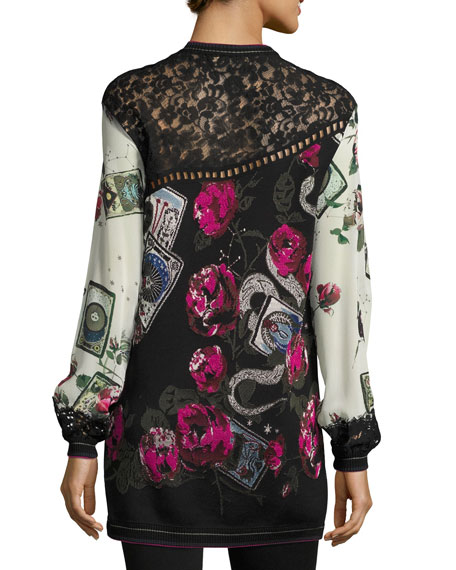 Mystic Garden Intarsia Tunic Top with Lace Trim, Black