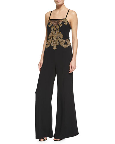 Embroidered Sleeveless Wide-Leg Jumpsuit, Black/Gold
