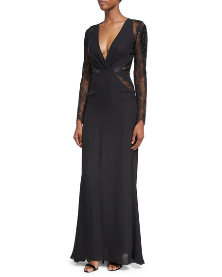 Roberto Cavalli Deep V-Neck Lace-Inset Gown, Black