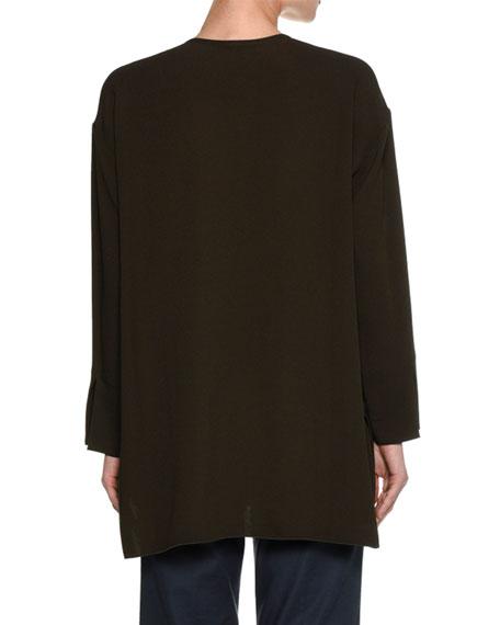 Long-Sleeve Keyhole Cady Tunic Blouse, Olive