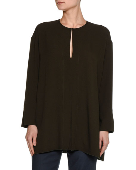 Piazza Sempione Long-Sleeve Keyhole Cady Tunic Blouse, Olive