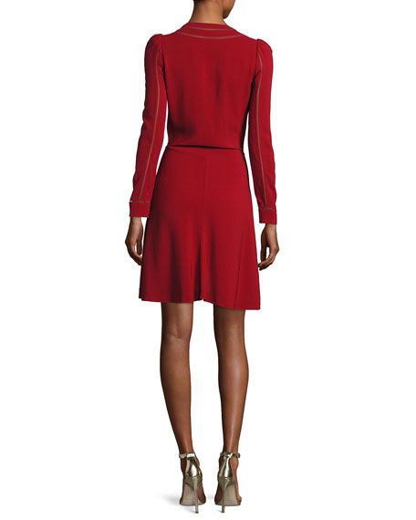 Long-Sleeve V-Neck Ruffle Dress, Crimson