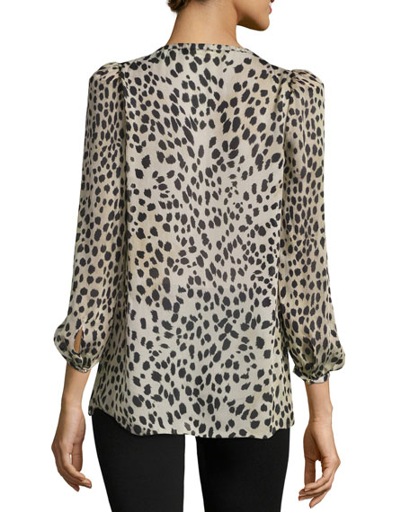 Cheetah-Print Lace-Trim Silk Blouse, Neutral