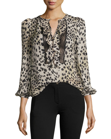 Roberto Cavalli Cheetah-Print Lace-Trim Silk Blouse, Neutral