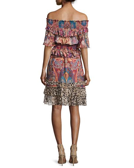 Sherazade Mixed-Print Off-the-Shoulder Dress, Multicolor