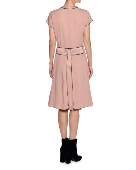 Cap-Sleeve Crepe Swing Dress, Pink