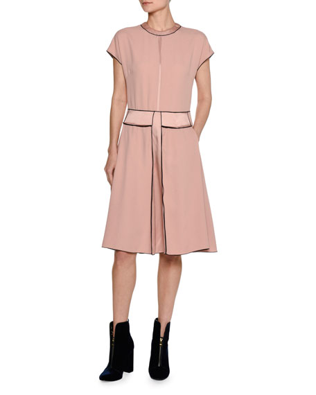 Piazza Sempione Cap-Sleeve Crepe Swing Dress, Pink
