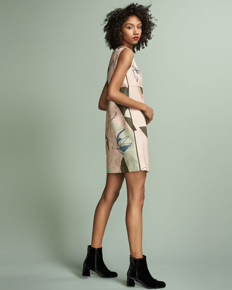 Sleeveless Jacquard Shift Dress, Pink/Olive