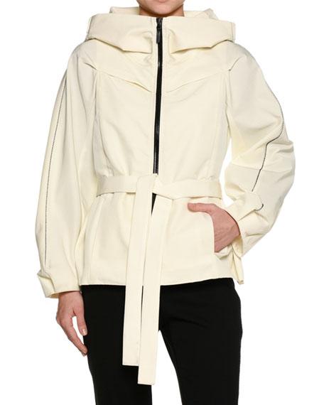 Techno Gabardine Parka Jacket, Ivory
