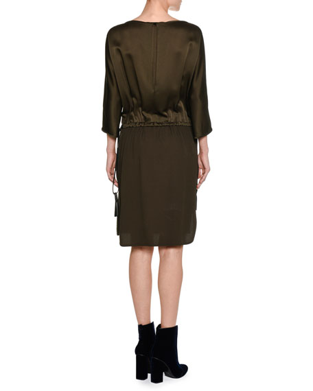 Satin 3/4-Sleeve Tassel Tie Dress, Olive