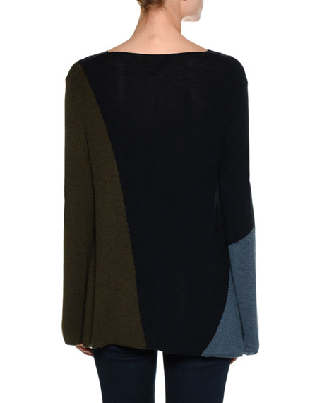 Colorblock Virgin Wool-Silk Boat-Neck Sweater, Navy/Olive