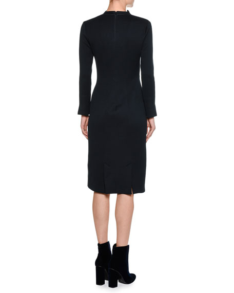 High-Neck Long-Sleeve Sheath Dress, Navy