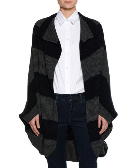 Piazza Sempione Heavy-Rib Striped Coat Sweater, Navy/Gray