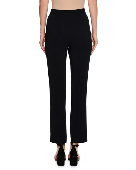 Cropped Straight-Leg Cady Pants, Navy