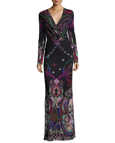 Magic Carpet Paisley-Print Long-Sleeve Gown, Black