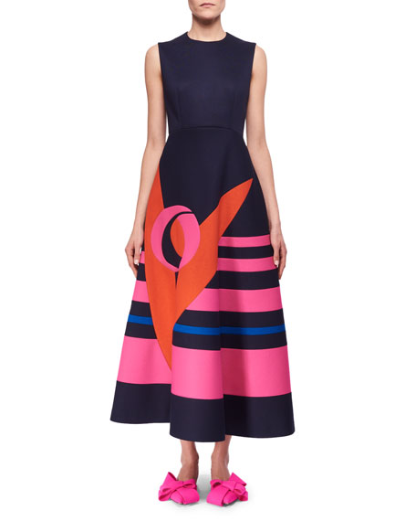Delpozo Sleeveless Decoupage Midi Dress, Blue