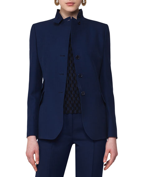 Notch-Collar Wool Blazer, Navy