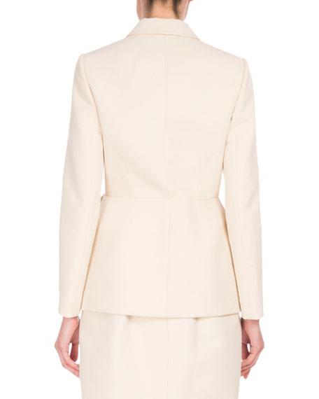 Notch-Collar Blazer w/Leaf Detail, White/Brown