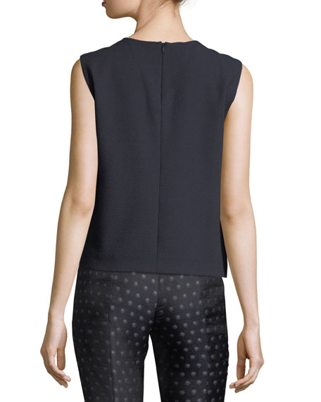Quilted Wrap-Front Sleeveless Top