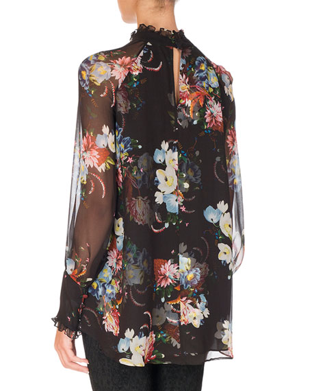 Isabelle Floral-Print Chiffon Blouse, Black Pattern