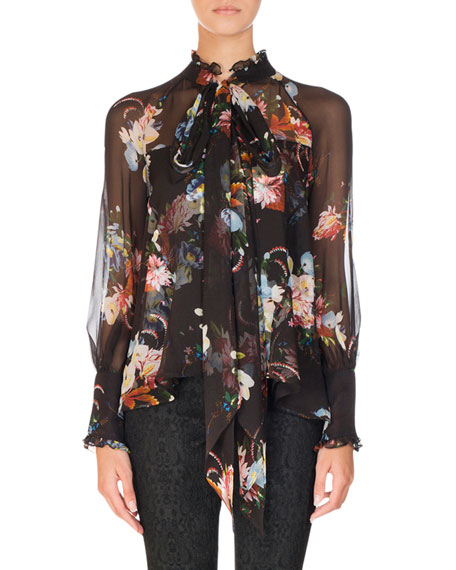 Erdem Isabelle Floral-Print Chiffon Blouse, Black Pattern and