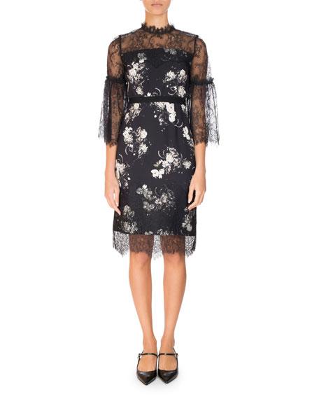 Erdem Kiya Lace-Trim 3/4-Sleeve Dress, Black/White