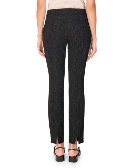 Sidney Jacquard Straight-Leg Pants, Black