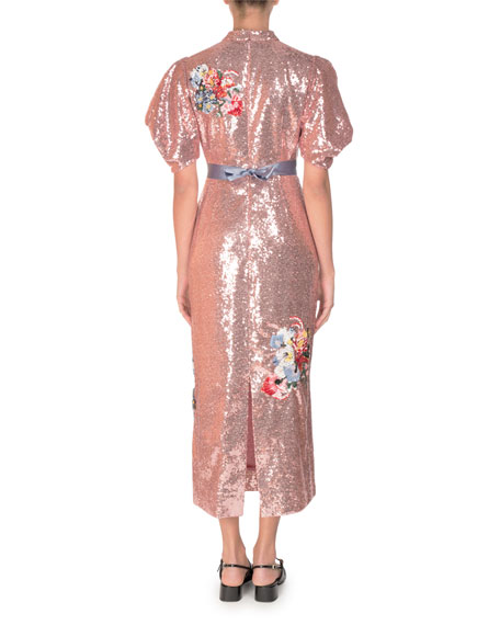 Image 2 of 2: Emery Floral Sequined Midi Dress, Pink