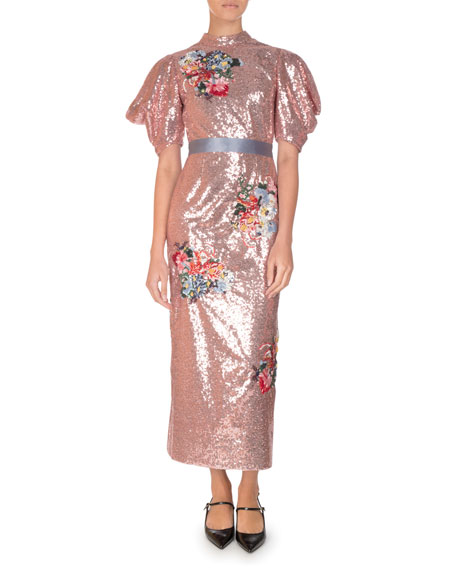 Image 1 of 2: Emery Floral Sequined Midi Dress, Pink