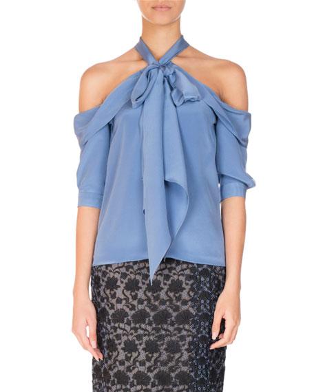 Erdem Elin Silk Cold-Shoulder Halter Top, Blue and
