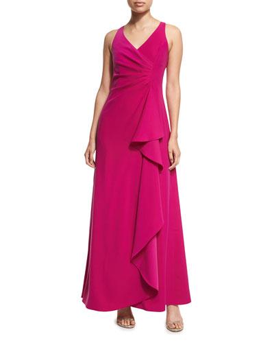 Sleeveless V-Neck Starburst-Pleated Gown