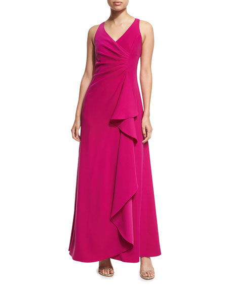 Armani Collezioni Sleeveless V-Neck Starburst-Pleated Gown