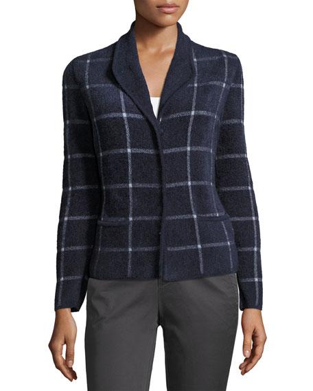 Chenille Windowpane Sweater Jacket, Blue