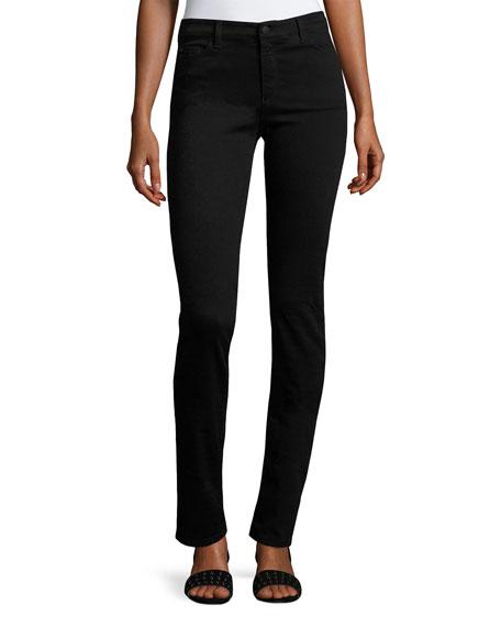 High-Rise Stretch-Denim Slim Jeans, Black
