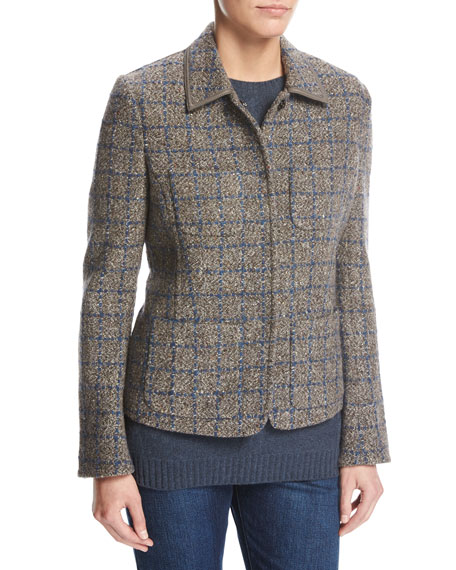 Loro Piana Inverness Tweed Blazer with Leather Trim,