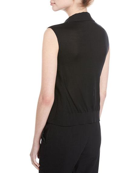 Seersucker Silk-Wool Vest, Black