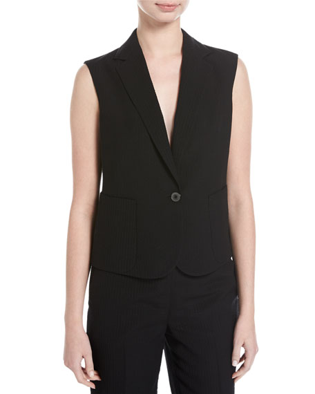 Akris Seersucker Silk-Wool Vest, Black