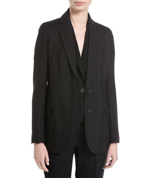 Seersucker Silk-Wool Blazer, Black